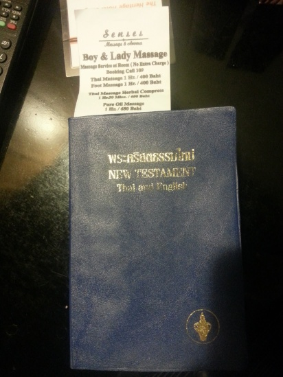 Found this bible in our hotel - love the bookmark placement.