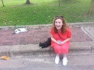 Meow! Being the ultimate crazy cat lady in Lumpini Park.