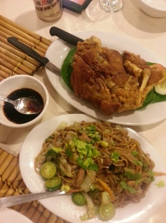 A delicious pork knuckle dinner