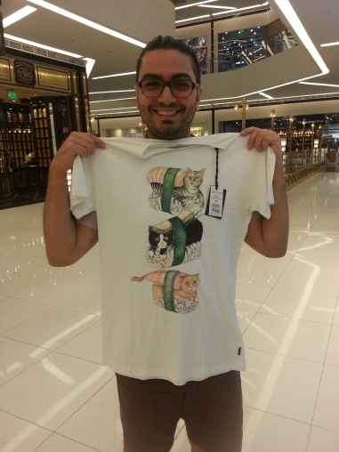 Kevin's fancy new CAT SUSHI t-shirt!!!