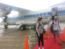 Of course when you get off a private jet, you do so on a red carpet.