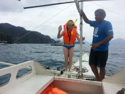 Me and Richard - me, struggling post-snorkelling