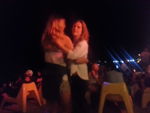 Dancing on the beach after dinner :)
