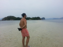 Standing on the sandbar leading to Snake Island