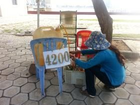 Buying roadside gas - 1 USD per litre.