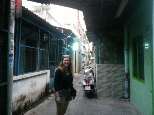 In the alley near our hotel in Ho Chi Minh City, Vietnam