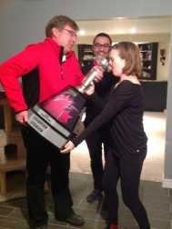 Drinking champagne from the championship trophy for the Nascar Canada season Championship
