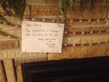 Our note to Santa on Christmas Eve