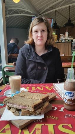 breakfast time. mixed toast, coffee with milk, chocolate milk