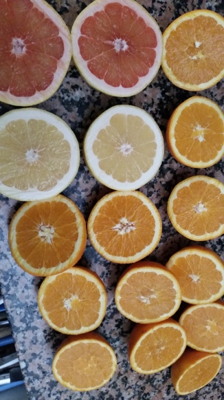oranges from one grandmother, grapefruits from another