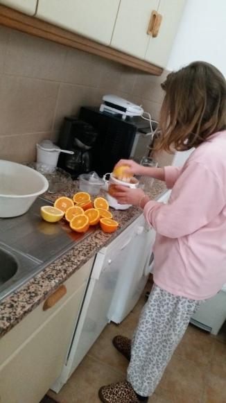 making orange juice in my PJs!