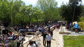 the crowd at the fonte grande for the folk music festival