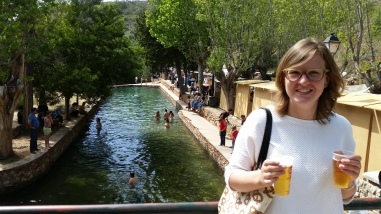 me on the bridge above the fonte grande (people swimming in the back!)