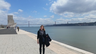 me in front of the Ponte de 25 Abril