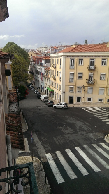 the view of the street from our AirBnB