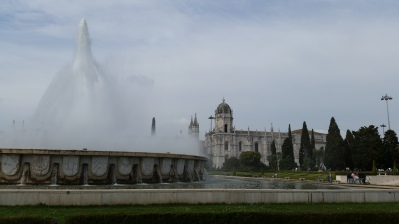 A massive fountain in Belem. First time seeing it active!