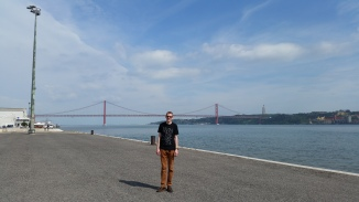 Tyler in front of the 25 of April Bridge. Just like his trip to San Francisco a few weeks prior!