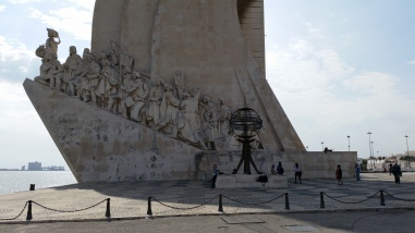 The massive Monument to the Discoveries. Built to commemorate Portuguese exploration.