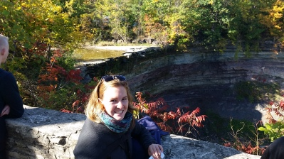 """checking out the natural landscape - that's """"Balls Falls"""" behind me."""