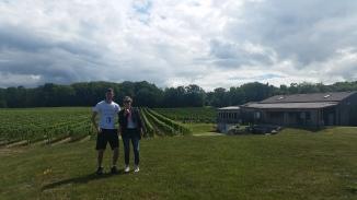 KP and I, picking up some wine at Hernder Estates