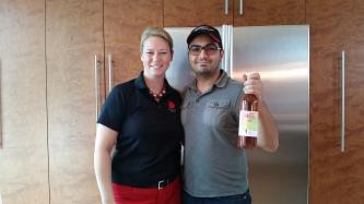 Kevin meeting wine maker extraordinaire Sue-Ann Staff herself
