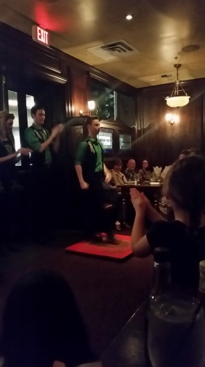Enjoying the show at Raglan Road Pub - Irish dancing in-house