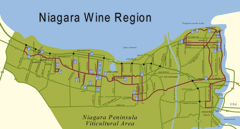 Niagara Wine Route Map (Outdated)
