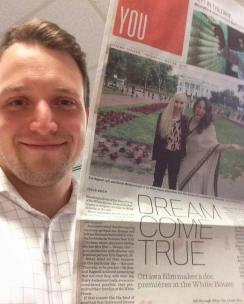 Mitch showing off an front page article in the Ottawa Citizen highlighting Dream, Girl at the White House