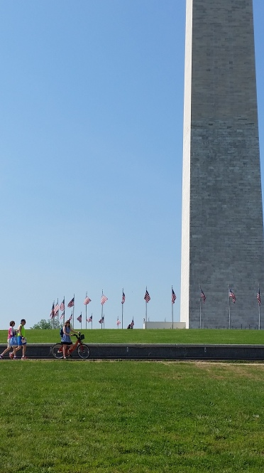 Biking past the Washington Monument