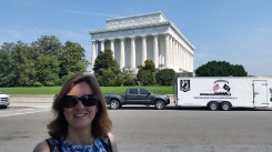 In front of the Lincoln Memorial and