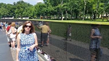 Walking along the Vietnam War Memorial