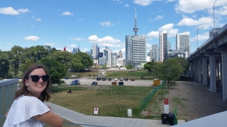 Standing on Strachan, getting a photo of the downtown while exploring a different area of town