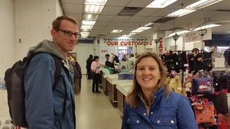 Picking up signs at Honest Ed's in advance of their closing :(