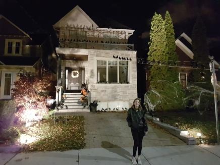 Checking out the Halloween Decor in Toronto's Swansea neighbourhood.