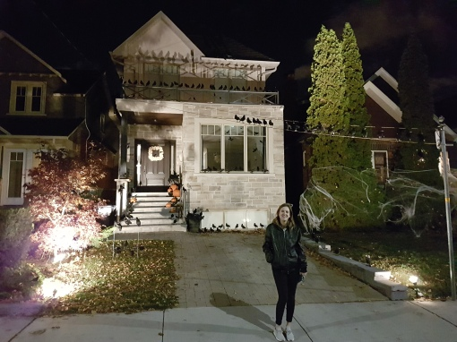 Checking out the Halloween Decor in Toronto's Swansea neighbourhood.
