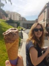 Ice cream for breakfast before we head inside!