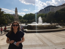 in front of yet another fountain, this time near the palace of Madrid