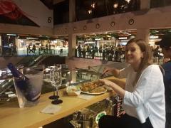 Dinner in Mercado de San Anton. Drinking cava all day every day!