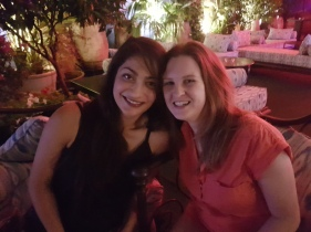 Chilling with Zoya at the bar on our last night in Cordoba