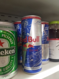 Went inside Tjin's to check out their international selections, and I found this Max Verstappen Red Bull can!