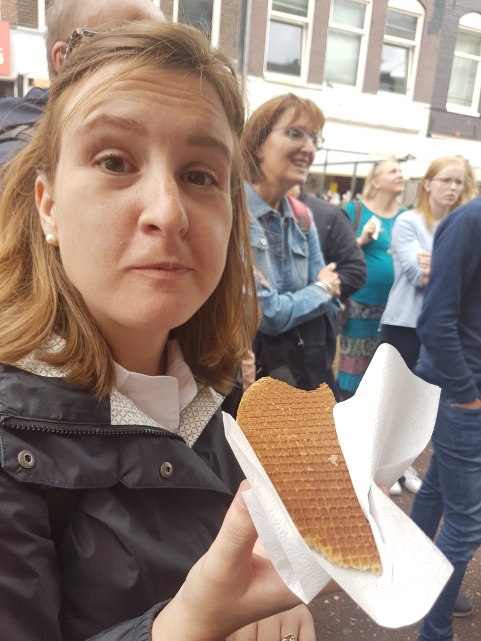 A stroopwafel is a waffle made from two thin layers of baked dough with a caramel-like syrup filling in the middle. They are wildly good.