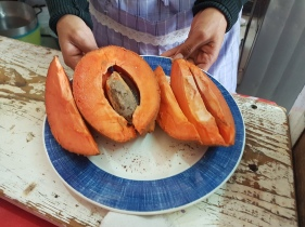 for dessert, a Mamey - tastes like the product of an avocado and a sweet potato!