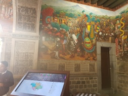 The city hall has an incredible set of mural that tells the story of the Tlaxcala people.