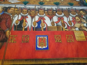 Here they are in Spain, signing an agreement with the Spanish royal government. Spain formed alliances with non-Mexica tribes in order to defeat them and take over all the area of present-day Mexico. The Tlaxcala peoples were astute and ended up travelilng to both Spain and later the Philippines. In fact, some Tlaxcala words are present in the Philippine languages!