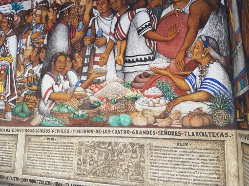 This mural contains many of the same foods we saw and ate in the market!