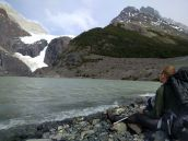 Resting beside our second glacier of the day