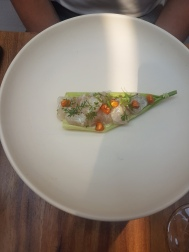 Sea bass, cacahuatzintle juice, celery